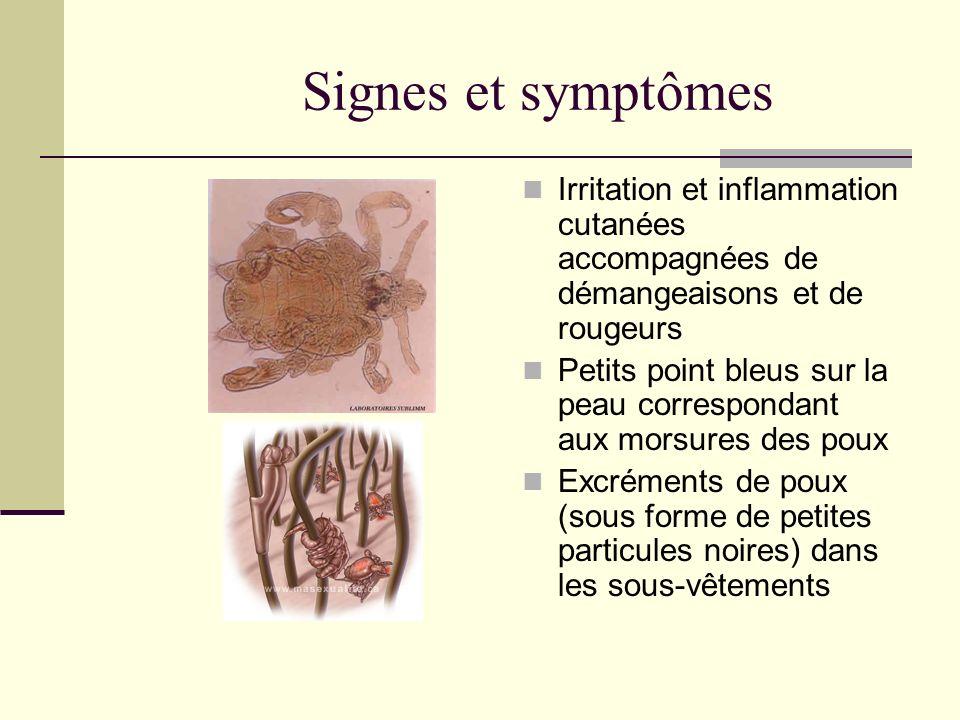 Signes et symptômes Irritation et inflammation cutanées accompagnées de démangeaisons et de rougeurs.