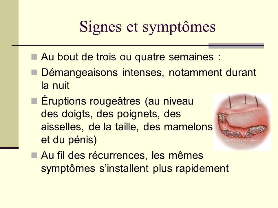 Signes et symptômes Au bout de trois ou quatre semaines :