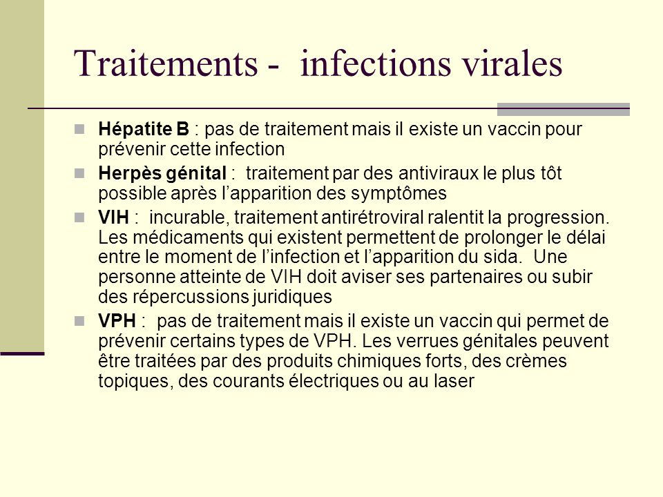 Traitements - infections virales