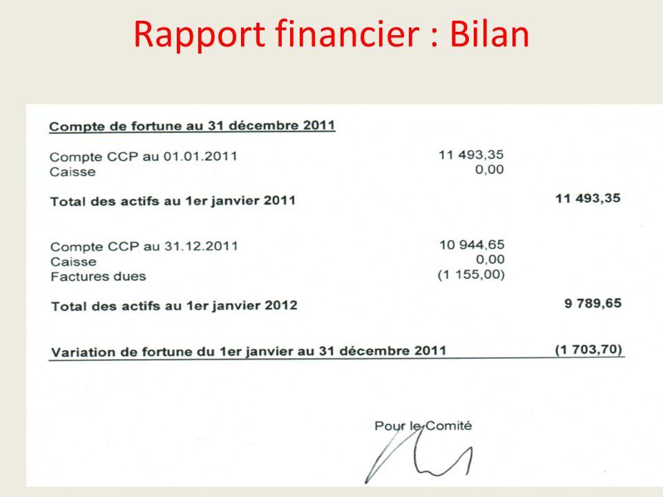Rapport financier : Bilan