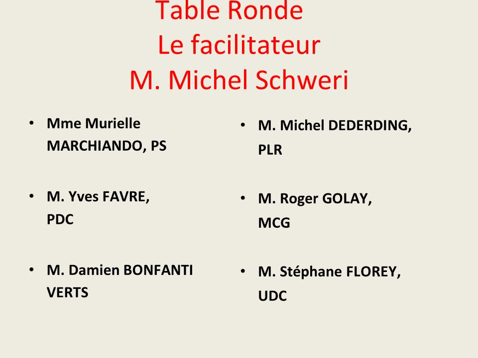 Table Ronde Le facilitateur M. Michel Schweri