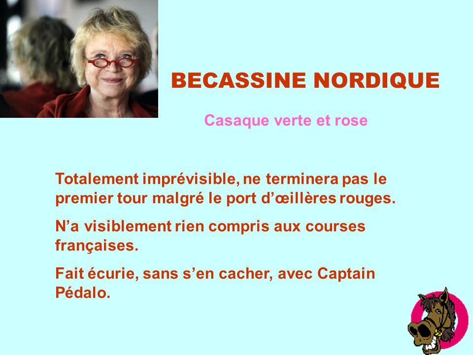 BECASSINE NORDIQUE Casaque verte et rose