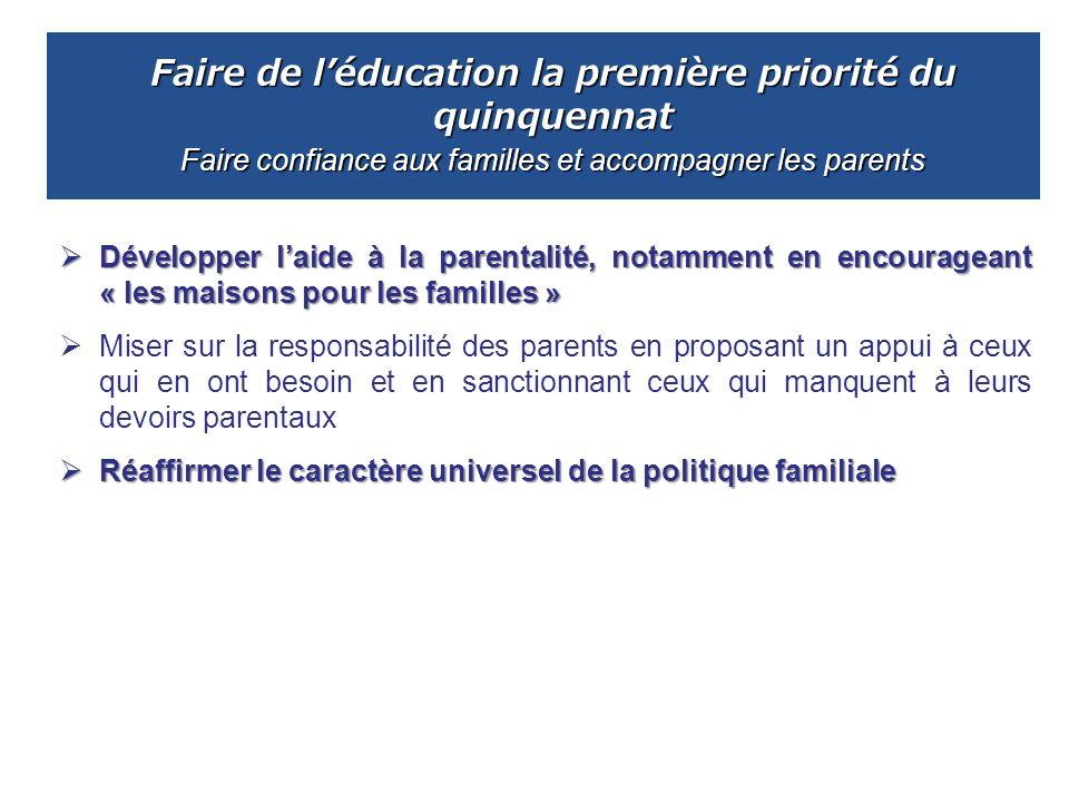 Faire de l'éducation la première priorité du quinquennat Faire confiance aux familles et accompagner les parents