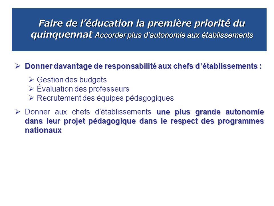 Faire de l'éducation la première priorité du quinquennat Accorder plus d'autonomie aux établissements
