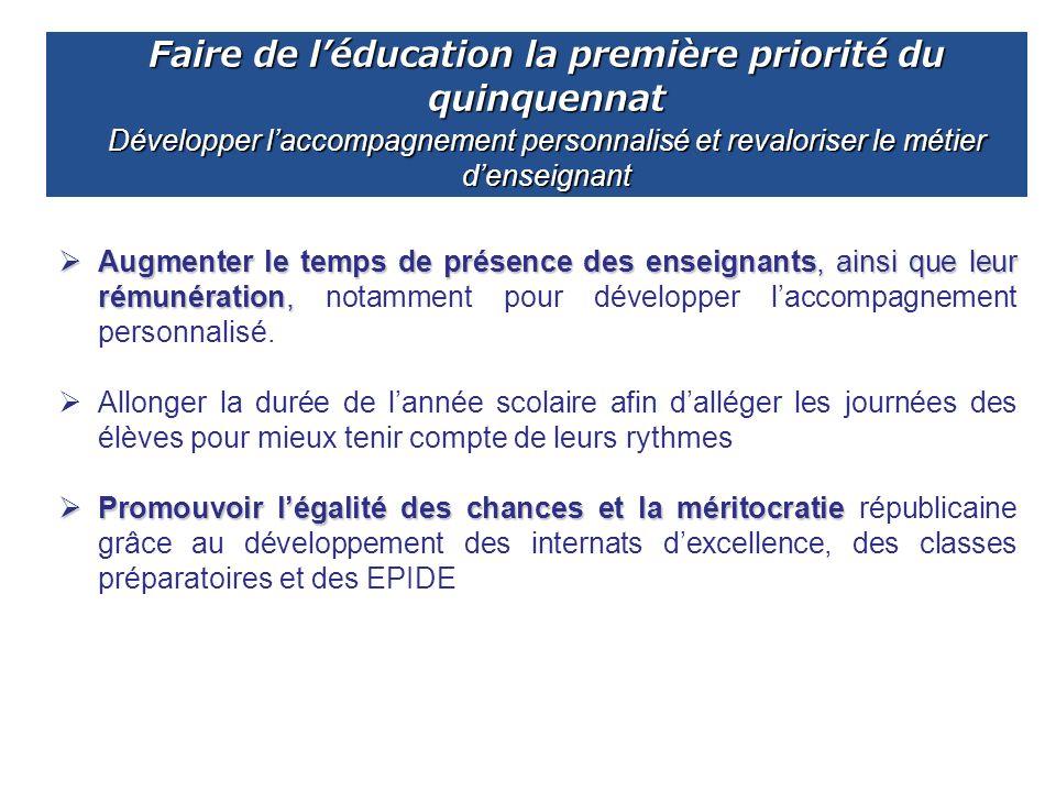 Faire de l'éducation la première priorité du quinquennat Développer l'accompagnement personnalisé et revaloriser le métier d'enseignant