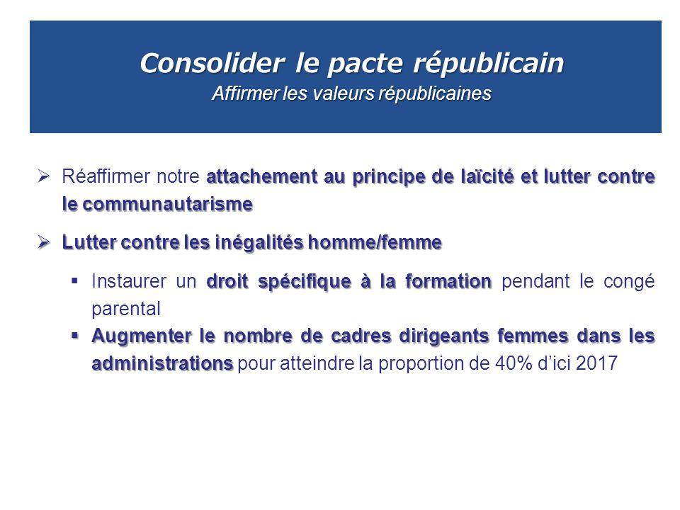 Consolider le pacte républicain Affirmer les valeurs républicaines