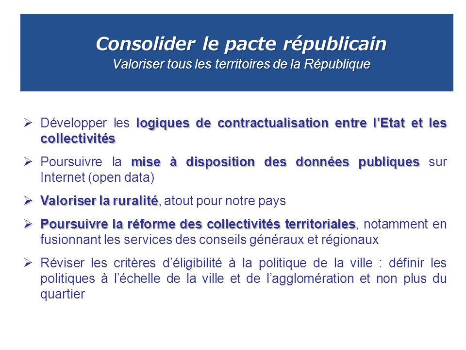 Consolider le pacte républicain Valoriser tous les territoires de la République