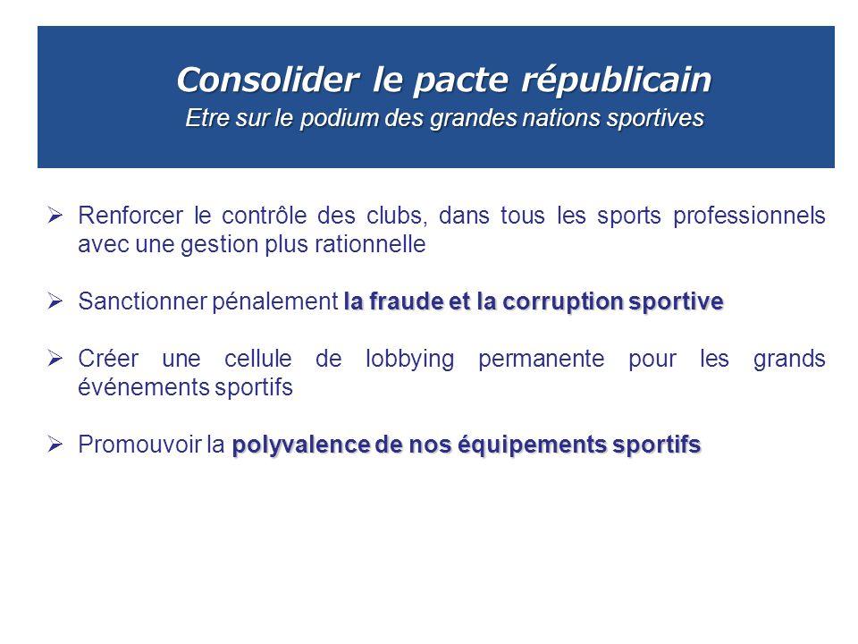 Consolider le pacte républicain Etre sur le podium des grandes nations sportives