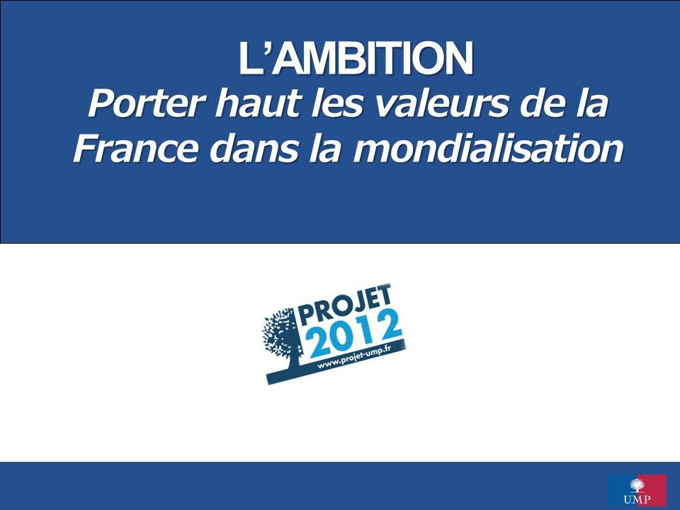 L'AMBITION Porter haut les valeurs de la France dans la mondialisation