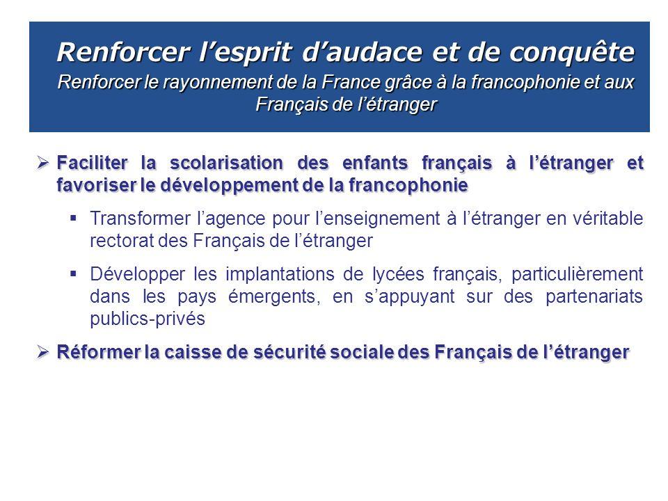 Renforcer l'esprit d'audace et de conquête Renforcer le rayonnement de la France grâce à la francophonie et aux Français de l'étranger