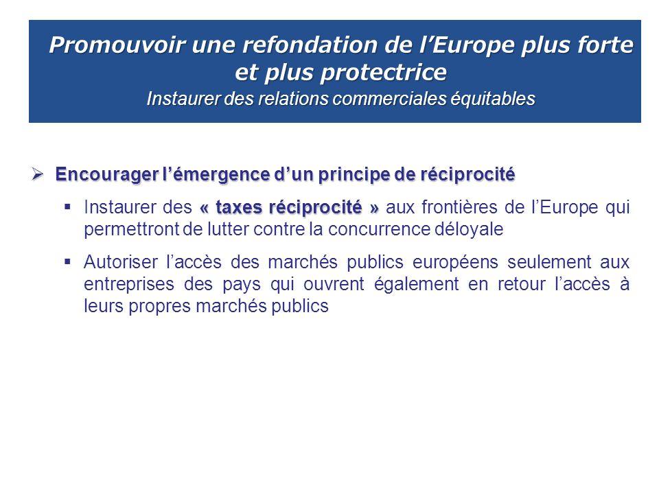 Promouvoir une refondation de l'Europe plus forte et plus protectrice Instaurer des relations commerciales équitables