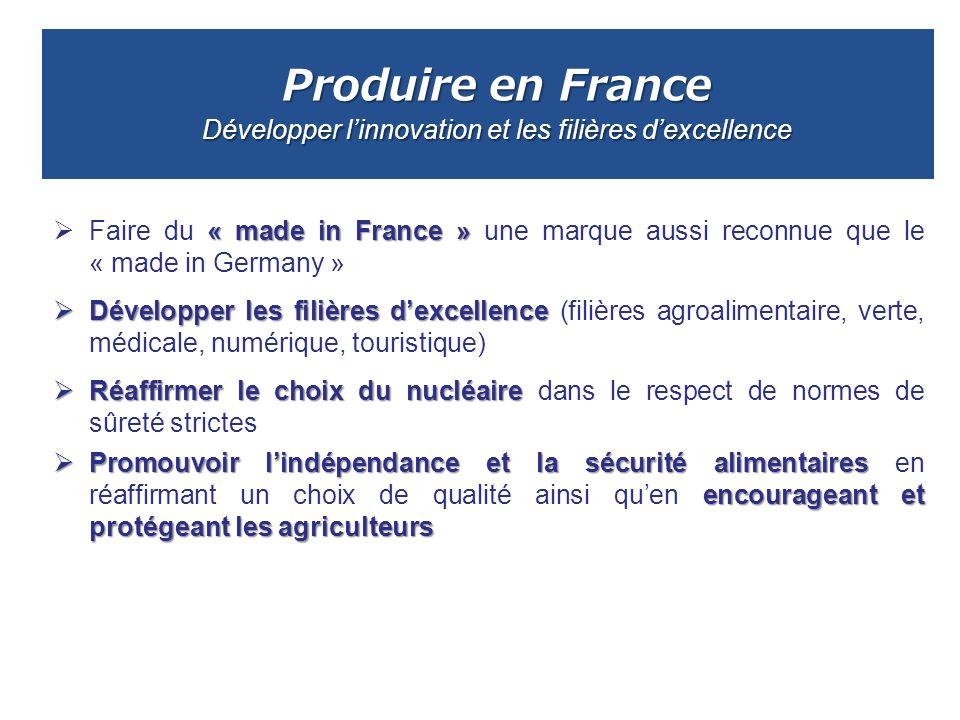 Produire en France Développer l'innovation et les filières d'excellence
