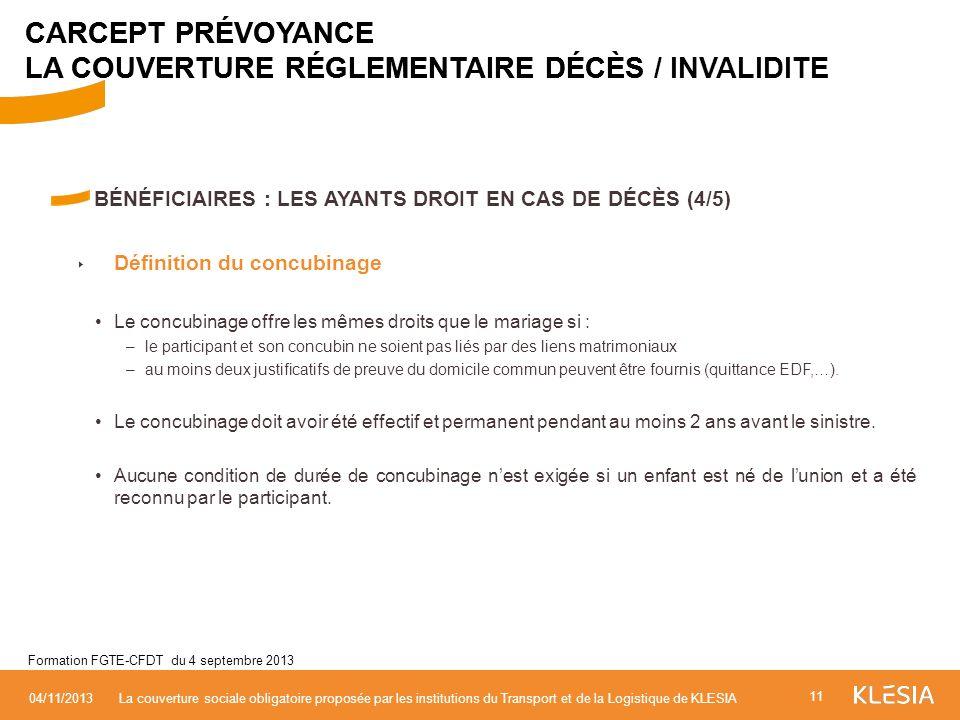 CARCEPT PRÉVOYANCE LA COUVERTURE RÉGLEMENTAIRE DÉCÈS / INVALIDITE
