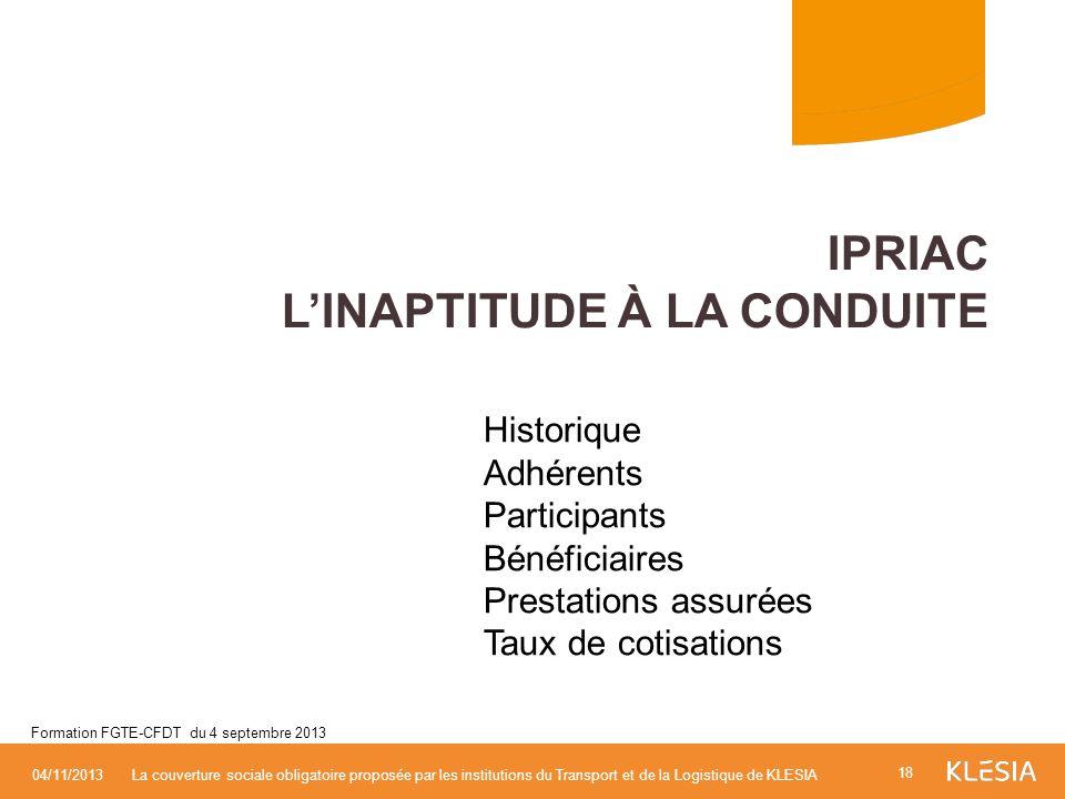 IPRIAC L'inaptitude à la conduite