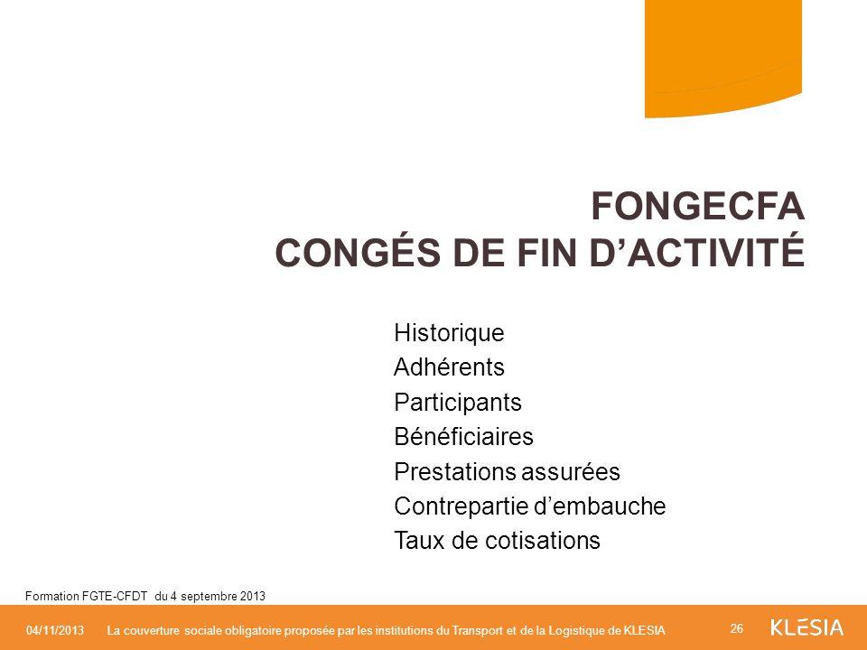 FONGECFA Congés de fin d'activité