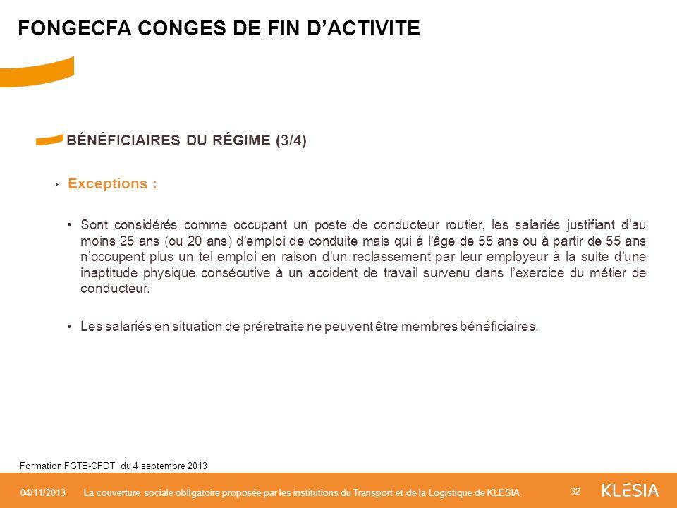 FONGECFA CONGES DE FIN D'ACTIVITE