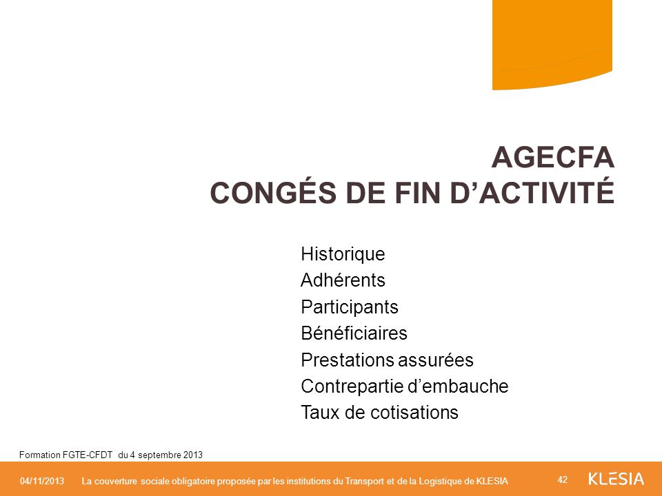 AGECFA Congés de fin d'activité