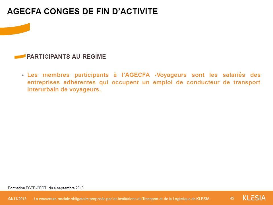 AGECFA CONGES DE FIN D'ACTIVITE