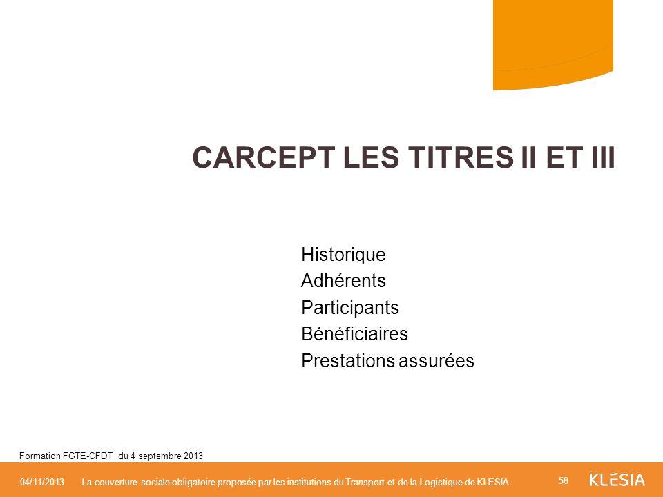 CARCEPT LES TITRES II ET III