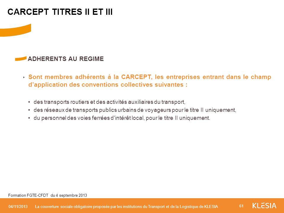 CARCEPT TITRES II ET III