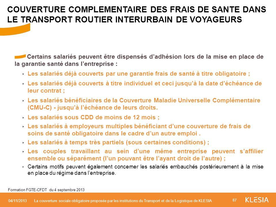 COUVERTURE COMPLEMENTAIRE DES FRAIS DE SANTE DANS LE TRANSPORT ROUTIER INTERURBAIN DE VOYAGEURS
