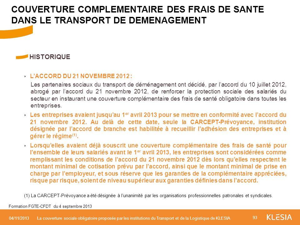 COUVERTURE COMPLEMENTAIRE DES FRAIS DE SANTE DANS LE TRANSPORT DE DEMENAGEMENT