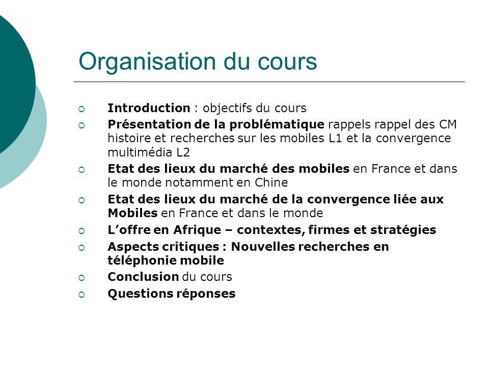 Organisation du cours 1 Introduction : objectifs du cours