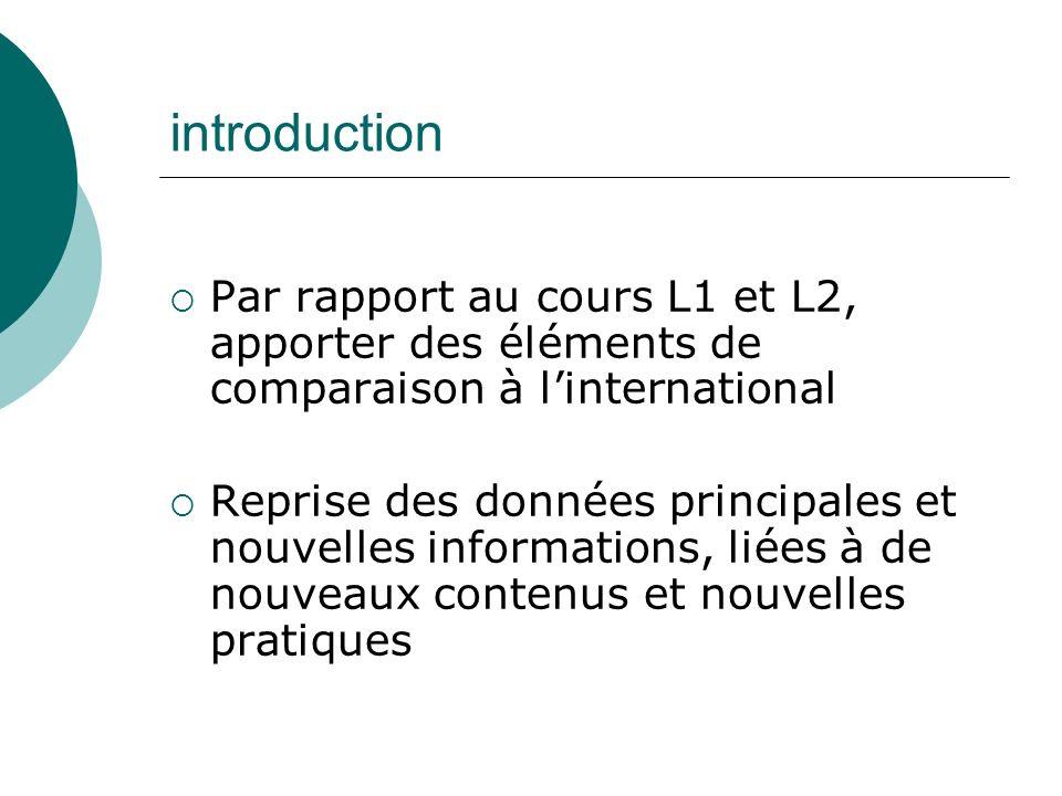 introduction Par rapport au cours L1 et L2, apporter des éléments de comparaison à l'international.