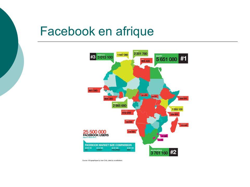 Facebook en afrique Aucun lien entre facebook et les revolutions arabes du moins pour le nombre d abonnés.