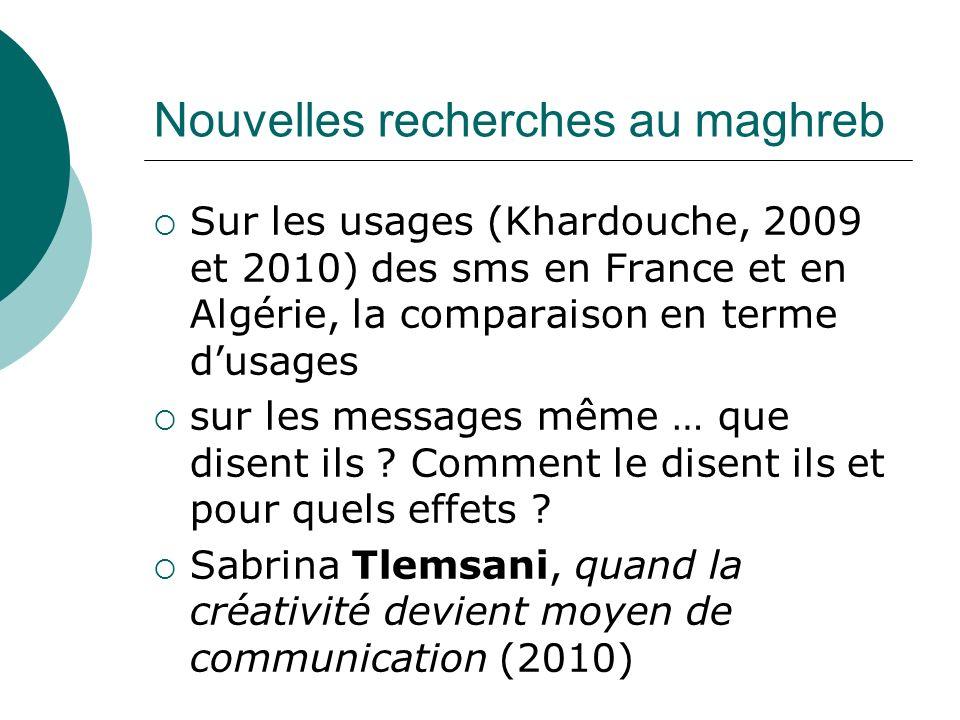 Nouvelles recherches au maghreb