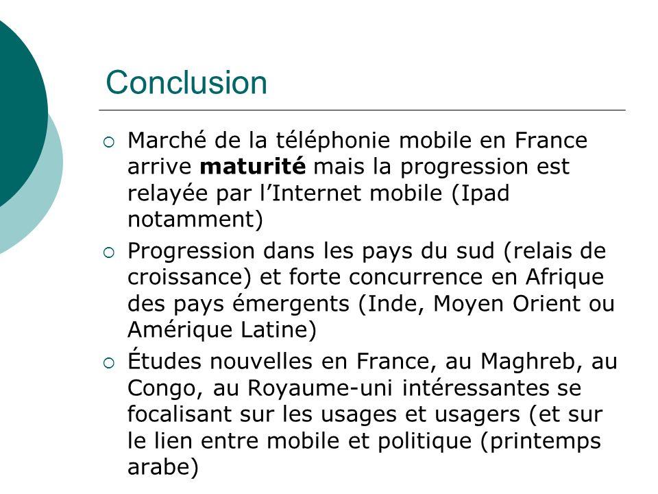 Conclusion Marché de la téléphonie mobile en France arrive maturité mais la progression est relayée par l'Internet mobile (Ipad notamment)