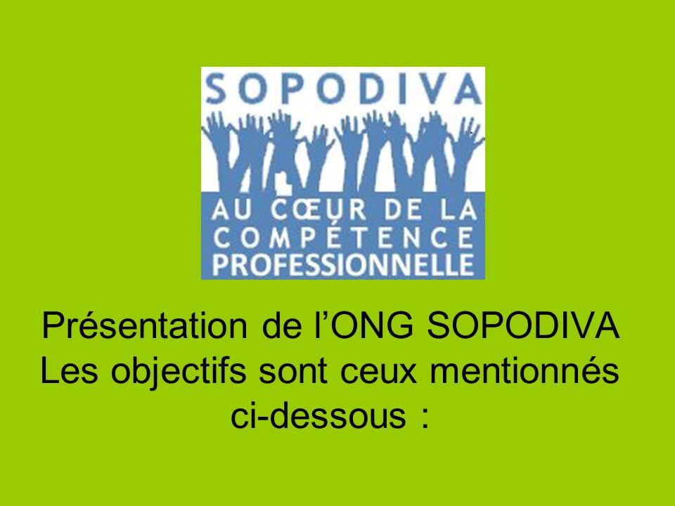 Présentation de l'ONG SOPODIVA
