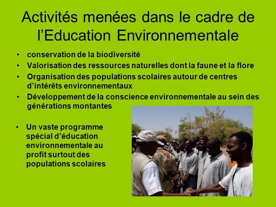 Activités menées dans le cadre de l'Education Environnementale