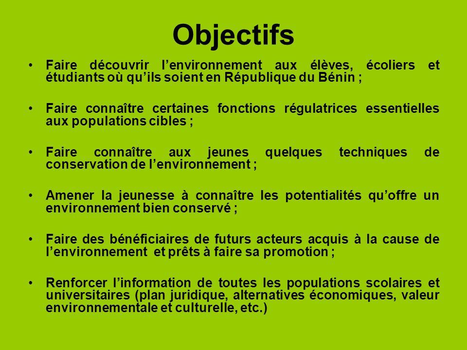 Objectifs Faire découvrir l'environnement aux élèves, écoliers et étudiants où qu'ils soient en République du Bénin ;