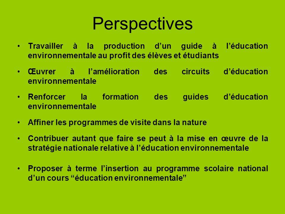 Perspectives Travailler à la production d'un guide à l'éducation environnementale au profit des élèves et étudiants.