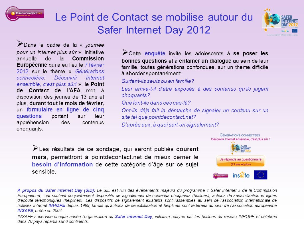 Le Point de Contact se mobilise autour du Safer Internet Day 2012