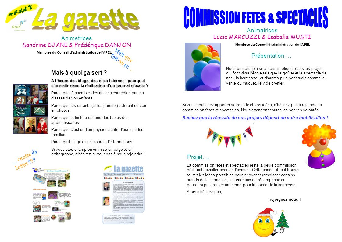 COMMISSION FETES & SPECTACLES La gazette