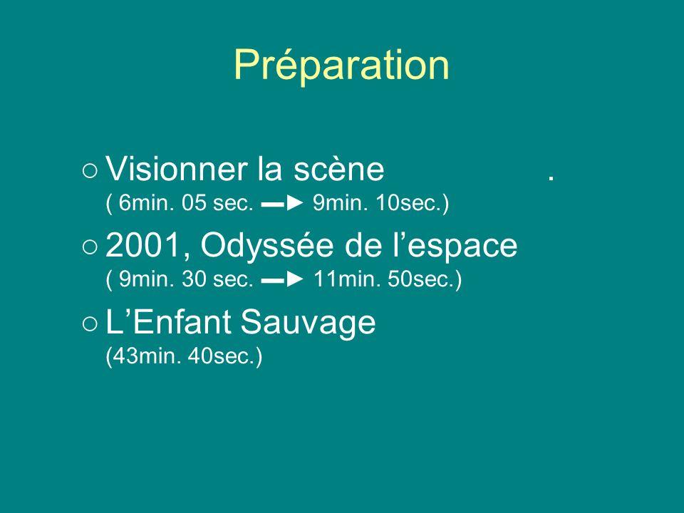 Préparation Visionner la scène . ( 6min. 05 sec. ▬► 9min. 10sec.)