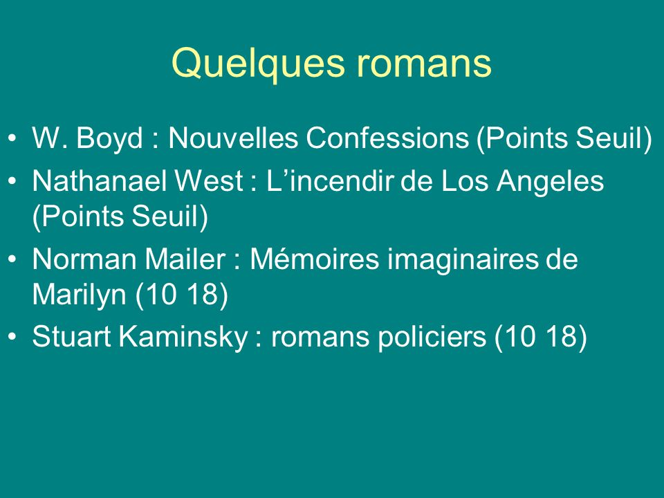 Quelques romans W. Boyd : Nouvelles Confessions (Points Seuil)
