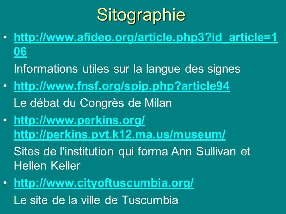 Sitographie http://www.afideo.org/article.php3 id_article=106