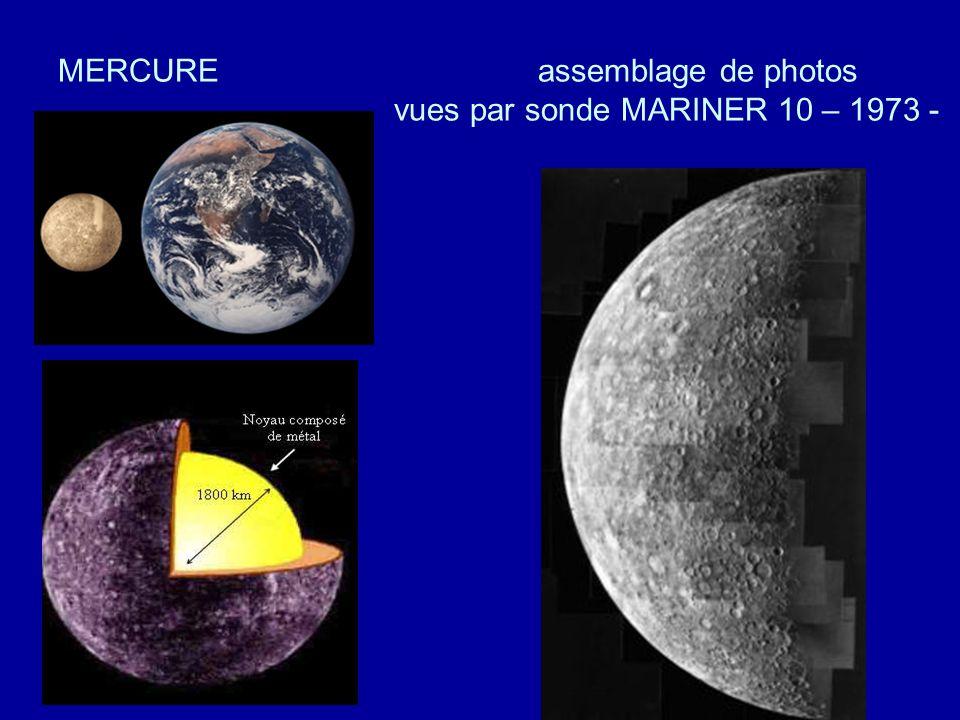 MERCURE assemblage de photos vues par sonde MARINER 10 – 1973 -
