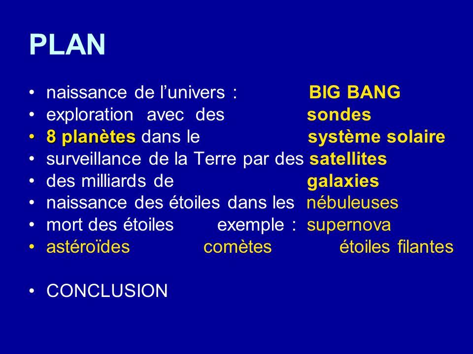PLAN naissance de l'univers : BIG BANG exploration avec des sondes