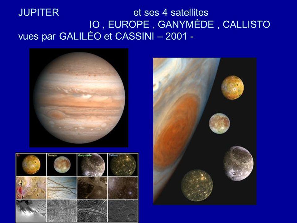 JUPITER et ses 4 satellites IO , EUROPE , GANYMÈDE , CALLISTO vues par GALILÉO et CASSINI – 2001 -