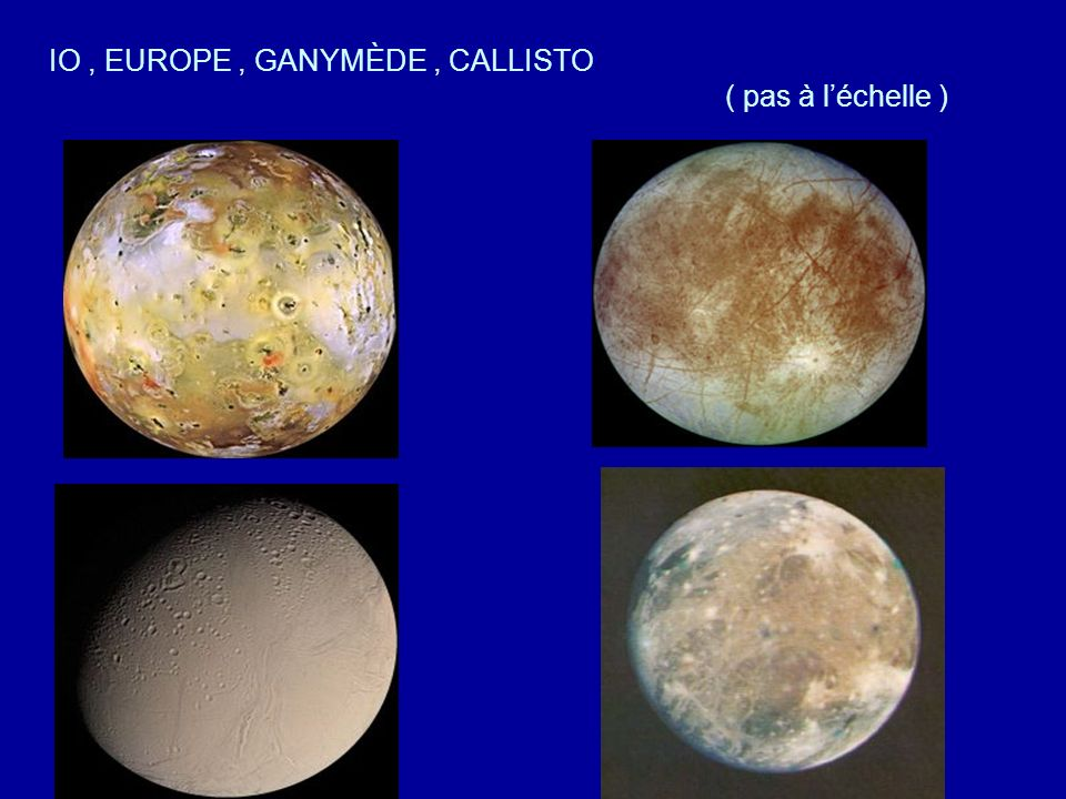 IO , EUROPE , GANYMÈDE , CALLISTO ( pas à l'échelle )