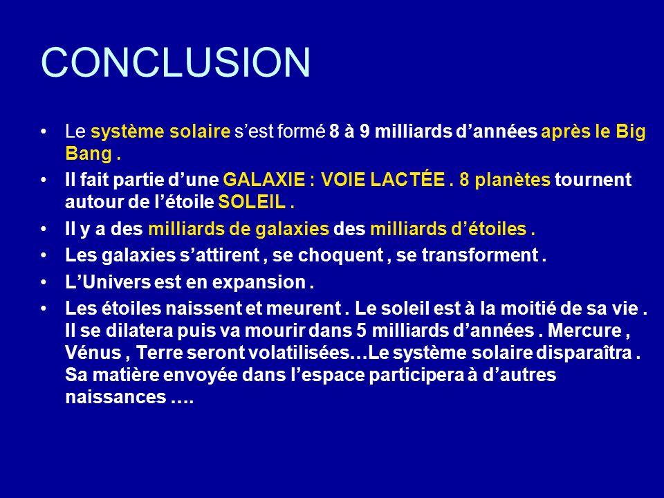 CONCLUSION Le système solaire s'est formé 8 à 9 milliards d'années après le Big Bang .