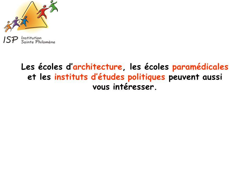 Les écoles d'architecture, les écoles paramédicales et les instituts d'études politiques peuvent aussi vous intéresser.