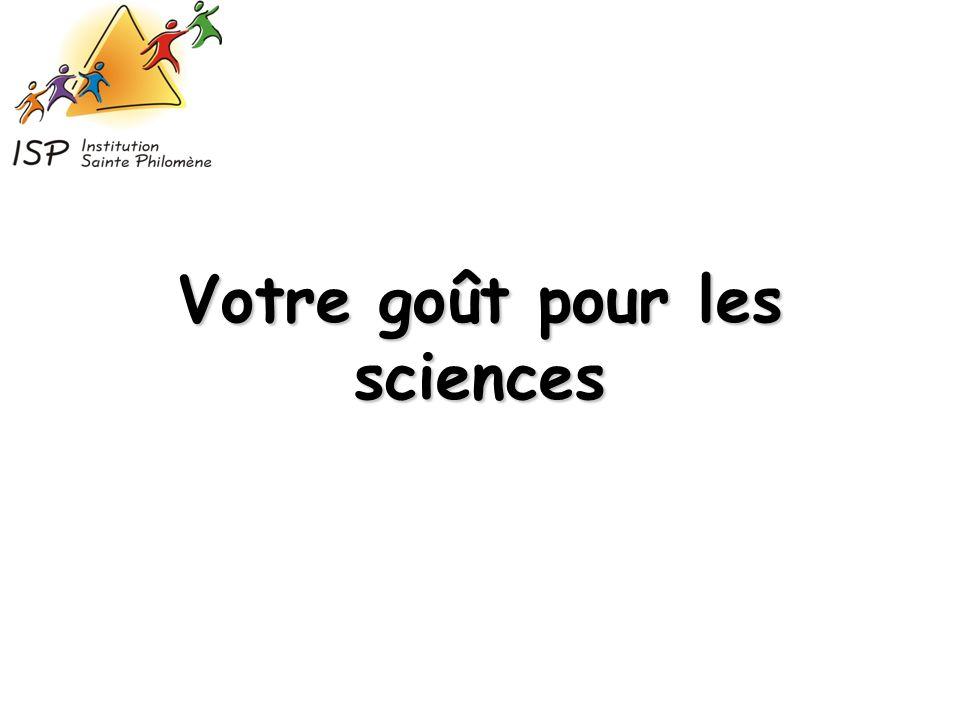 Votre goût pour les sciences