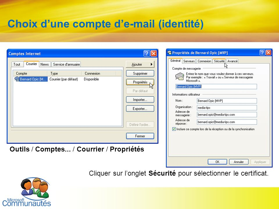 Choix d'une compte d'e-mail (identité)
