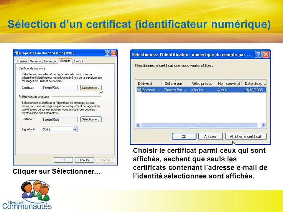 Sélection d'un certificat (identificateur numérique)