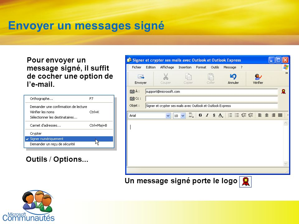 Envoyer un messages signé